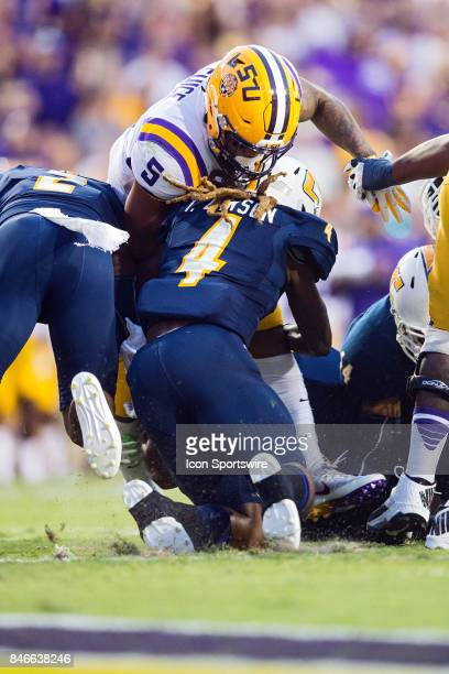 Tigers running back Derrius Guice rushes the ball during a game between the University of TennesseeChattanooga Mocs and LSU Tigers on September 9...