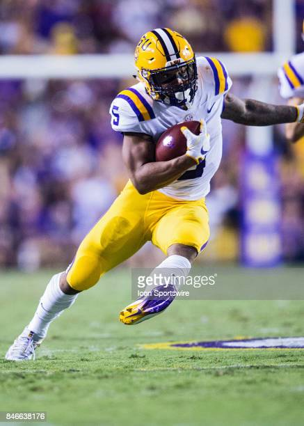 Tigers running back Derrius Guice rushes the ball for a touchdown during a game between the University of TennesseeChattanooga Mocs and LSU Tigers on...