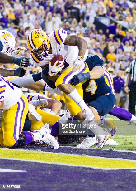 Tigers running back Derrius Guice scores a touchdown during a game between the University of TennesseeChattanooga Mocs and LSU Tigers on September 9...
