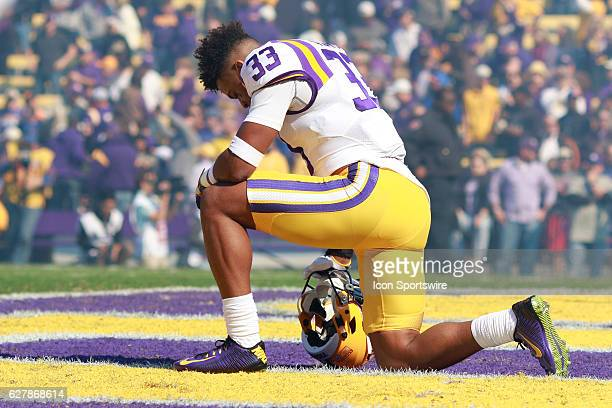 Tigers safety Jamal Adams kneels before the football game between Florida and LSU on November 19 2016 at Tiger Stadium in Baton Rouge LA Florida...