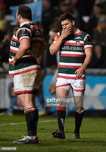 Tigers scrum half Ben Youngs reacts after the fourth Glasgow try during the European Rugby Champions Cup match between Leicester Tigers and Glasgow...
