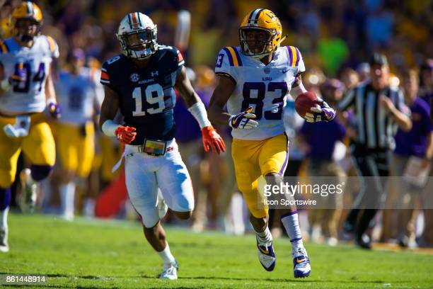 Tigers wide receiver Russell Gage runs away from Auburn Tigers defensive back Nick Ruffin during game between LSU and Auburn on October 14 2017 at...