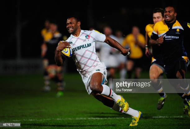 Tigers wing Vereniki Goneva races through to score the opening try during the Aviva Premiership match between Worcester Warriors and Leicester Tigers...