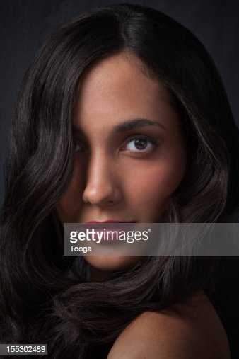 Tight beauty portrait of hispanic woman : Stock Photo