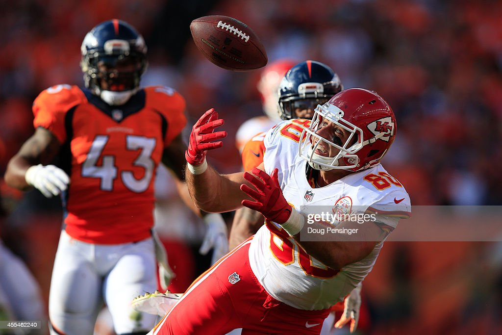Tight end Anthony Fasano #80 of the Kansas City Chiefs makes a catch against the Denver Broncos during the fourth quarter of a game at Sports Authority Field at Mile High on September 14, 2014 in Denver, Colorado.