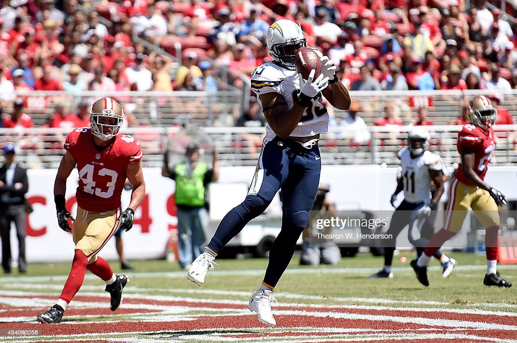 Tight end Antonio Gates #85 of the San Diego Chargers catches a touchdown during the first quarter of their preseason game against the San Francisco 49ers at Levi's Stadium on August 24, 2014 in Santa Clara, California.