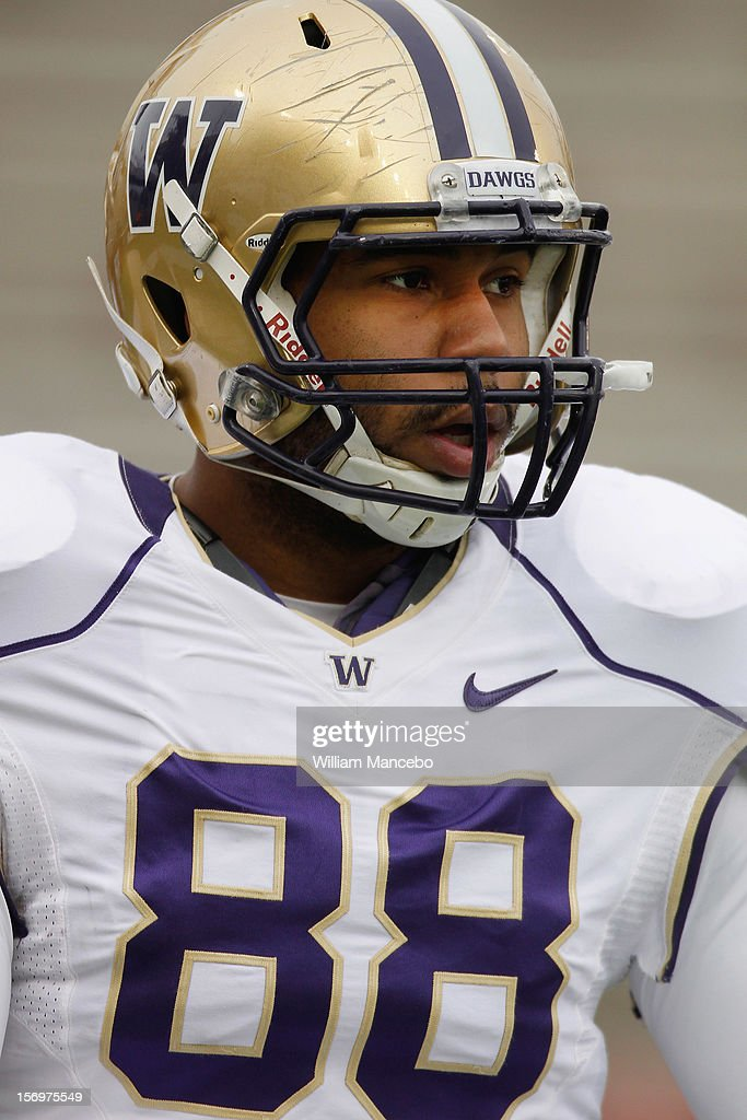 Tight end Austin Seferian-Jenkins #88 of the Washington Huskies during warm ups prior to the start of the Apple Cup game against the Washington State Cougars at Martin Stadium on November 23, 2012 in Pullman, Washington.
