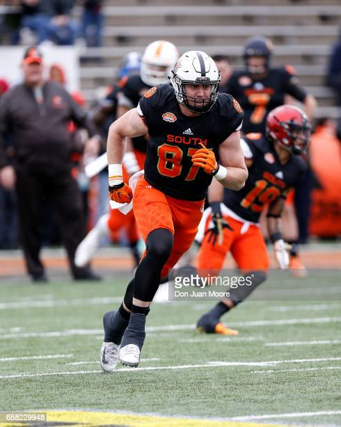 Tight End Blake Jarwin from Oklahoma State of the South Team during the 2017 Resse's Senior Bowl at LaddPeebles Stadium on January 28 2017 in Mobile...