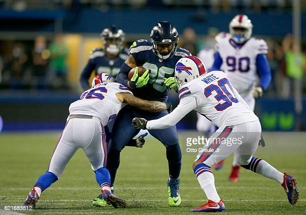 Tight end Brandon Williams of the Seattle Seahawks tries to fend off the Buffalo Bills defense at CenturyLink Field on November 7 2016 in Seattle...