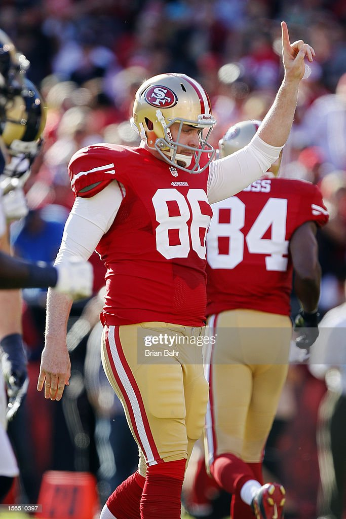 Tight end Brian Jennings of the San Francisco 49ers celebrates a touchdown against the St Louis Rams in the second quarter on November 11 2012 at...