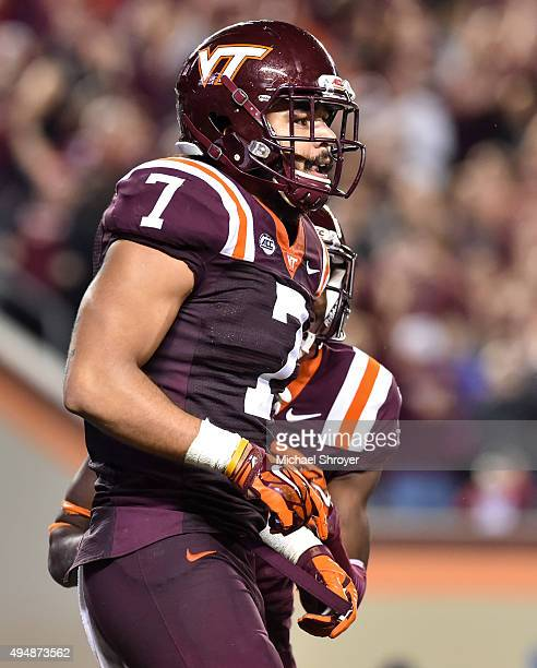 Tight end Bucky Hodges of the Virginia Tech Hokies reacts following his touchdown reception in the second overtime against the Duke Blue Devils at...