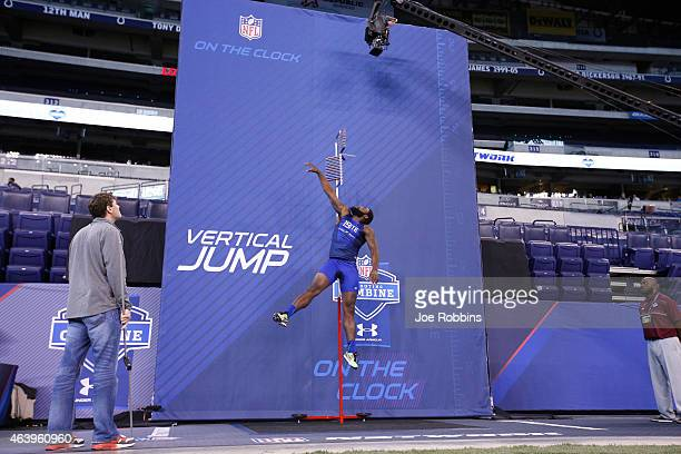 Tight end Clive Walford of Miami competes in the vertical jump during the 2015 NFL Scouting Combine at Lucas Oil Stadium on February 20 2015 in...