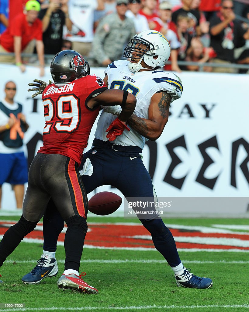 Tight end Dabte Rosario #88 of the San Diego Chargers drops a pass near the end zone against the Tampa Bay Buccaneers November 11, 2012 at Raymond James Stadium in Tampa, Florida. Tampa won 34 - 24.