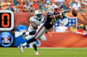 Tight end Daniel Fells of the New England Patriots misses a catch as strong safety Chris Clemons of the Miami Dolphins looks on at Sun Life Stadium...