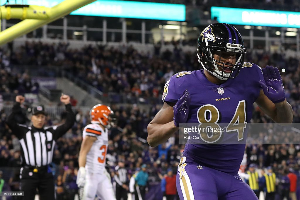 Tight end Darren Waller #84 of the Baltimore Ravens celebrates after scoring a third quarter touchdown against the Cleveland Browns at M&T Bank Stadium on November 10, 2016 in Baltimore, Maryland.
