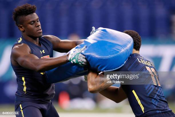 Tight end David Njoku of Miami competes in a blocking drill during day four of the NFL Combine at Lucas Oil Stadium on March 4 2017 in Indianapolis...