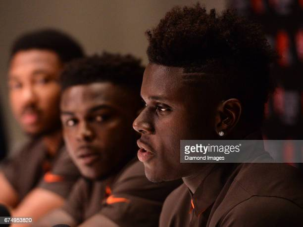 Tight end David Njoku of the Cleveland Browns answers questions from the media during a press conference after the first round of the 2017 NFL Draft...