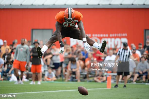 Tight end David Njoku of the Cleveland Browns celebrates after scoring a touchdown during a training camp practice on August 2 2017 at the Cleveland...