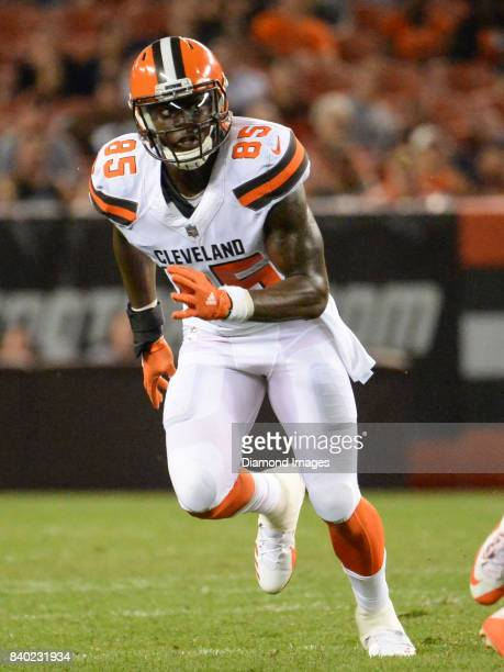 Tight end David Njoku of the Cleveland Browns runs a route in the second quarter of a preseason game on April 27 2017 against the New York Giants at...
