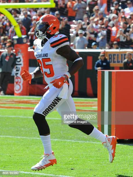 Tight end David Njoku of the Cleveland Browns runs onto the field as the team is introduced to the crowd prior to a game on October 1 2017 against...