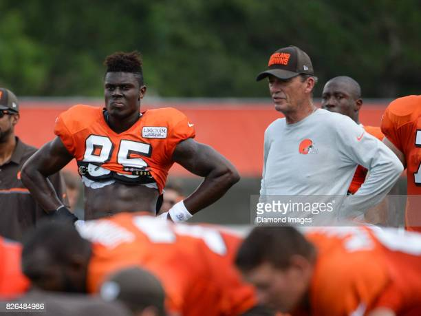 Tight end David Njoku of the Cleveland Browns watches drills during a training camp practice on August 2 2017 at the Cleveland Browns training...