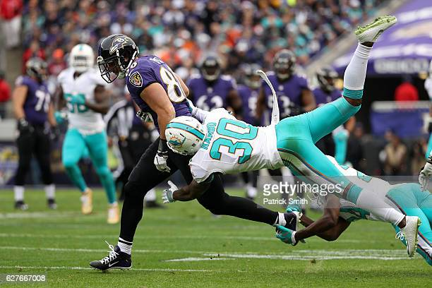 Tight end Dennis Pitta of the Baltimore Ravens carries the ball against free safety Bacarri Rambo and strong safety Isa AbdulQuddus of the Miami...