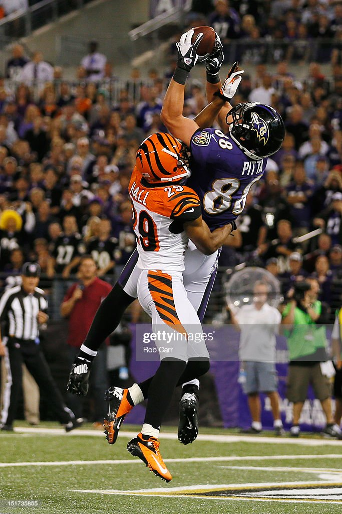 Tight end Dennis Pitta #88 of the Baltimore Ravens catches a touchdown pass in front of cornerback <a gi-track='captionPersonalityLinkClicked' href=/galleries/search?phrase=Leon+Hall&family=editorial&specificpeople=223989 ng-click='$event.stopPropagation()'>Leon Hall</a> #29 of the Cincinnati Bengals during the second half at M&T Bank Stadium on September 10, 2012 in Baltimore, Maryland.