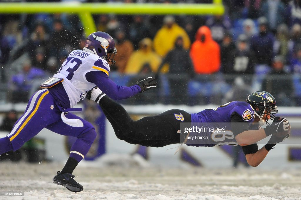 Tight end <a gi-track='captionPersonalityLinkClicked' href=/galleries/search?phrase=Dennis+Pitta&family=editorial&specificpeople=5516841 ng-click='$event.stopPropagation()'>Dennis Pitta</a> #88 of the Baltimore Ravens makes a catch during the game against the Minnesota Vikings at M&T Bank Stadium on December 8, 2013 in Baltimore, Maryland. The Ravens defeated the Vikings 29-26.