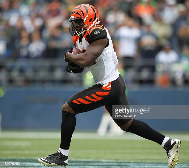 Tight end Donald Lee of the Cincinnati Bengals rushes against the Seattle Seahawks at CenturyLink Field on October 30 2011 in Seattle Washington The...