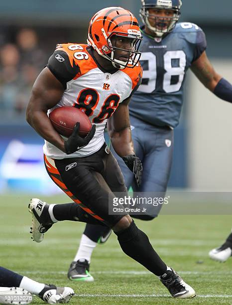 Tight end Donald Lee of the Cincinnati Bengals rushes against the Seattle Seahawks at CenturyLink Field on October 30 2011 in Seattle Washington