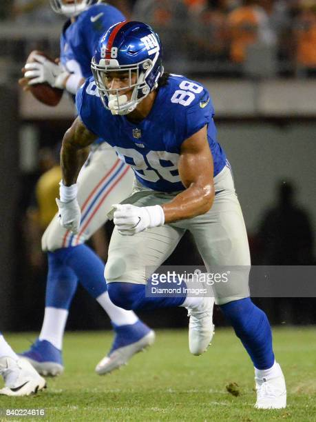 Tight end Evan Engram of the New York Giants runs a route in the first quarter of a preseason game on April 27 2017 against the Cleveland Browns at...