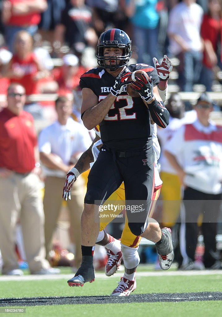 Tight end Jace Amaro #22 of the Texas Tech Red Raiders makes a catch during game action on October 12, 2013 at AT&T Jones Stadium in Lubbock, Texas. Texas Tech won the game over Iowa State 42-35.