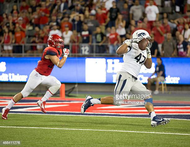 Tight end Jarred Gipson of the Nevada Wolf Pack catches a 6 yard touchdown in the 4th quarter against the Arizona Wildcats at Arizona Stadium on...