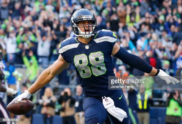 Tight end Jimmy Graham of the Seattle Seahawks celebrates a touchdown with 21 seconds left in the game against the Houston Texans at CenturyLink...