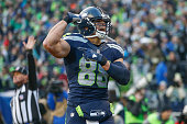 Tight end Jimmy Graham of the Seattle Seahawks reacts after making a catch against cornerback Ross Cockrell of the Pittsburgh Steelers in the third...
