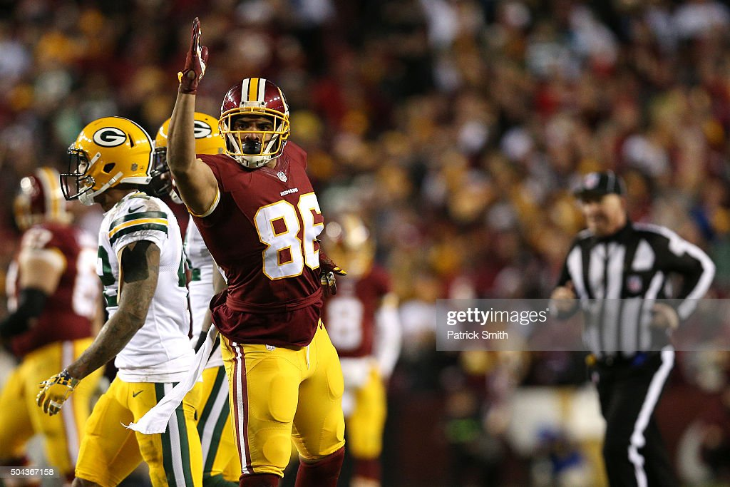 Tight end <a gi-track='captionPersonalityLinkClicked' href=/galleries/search?phrase=Jordan+Reed&family=editorial&specificpeople=6893664 ng-click='$event.stopPropagation()'>Jordan Reed</a> #86 of the Washington Redskins reacts to a play against the Green Bay Packers in the first quarter during the NFC Wild Card Playoff game at FedExField on January 10, 2016 in Landover, Maryland.
