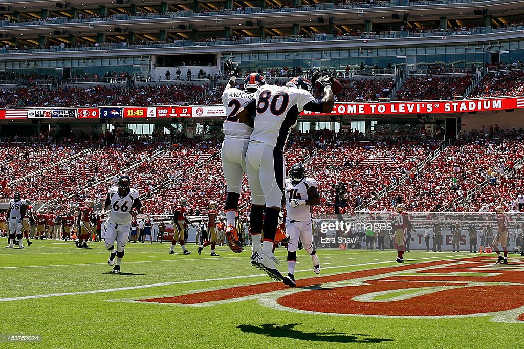Tight end Julius Thomas #80 of the Denver Broncos celebrates after a touchdown against the San Francisco 49ers during a preseason game at Levi's Stadium on August 17, 2014 in Santa Clara, California.