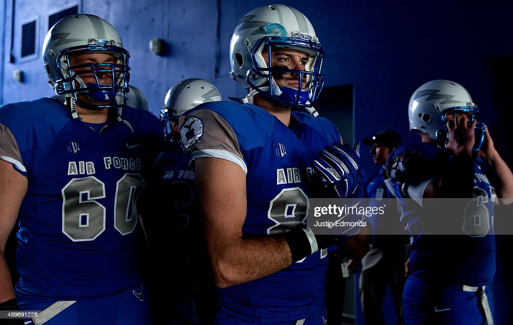 Tight end Keith Link of the Air Force Falcons prepares to take the field with teammates before a game against the Colorado State Rams at Falcon...