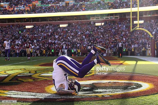 Tight end Kyle Rudolph of the Minnesota Vikings scores a second quarter touchdown against the Washington Redskins at FedExField on November 13 2016...