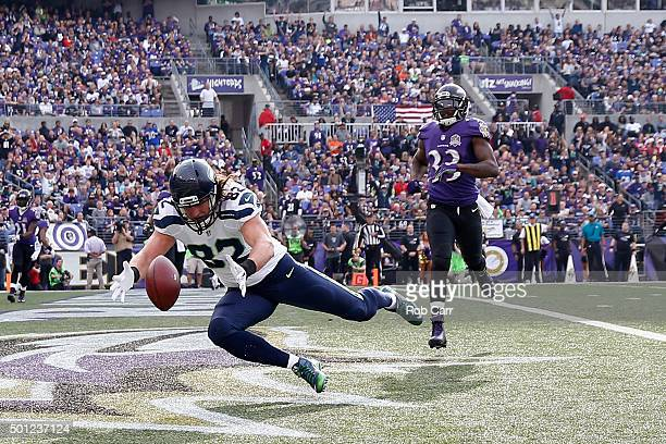 Tight end Luke Willson of the Seattle Seahawks misses a pass past strong safety Will Hill of the Baltimore Ravens in the second quarter at MT Bank...
