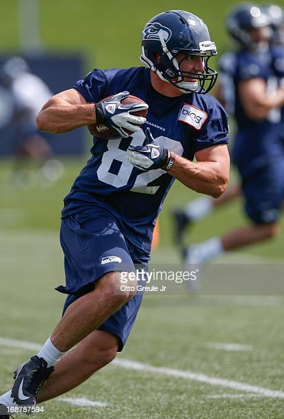 Tight end Luke Wilson of the Seattle Seahawks rushes during Rookie Camp at the Virginia Mason Athletic Center on May 11 2013 in Renton Washington