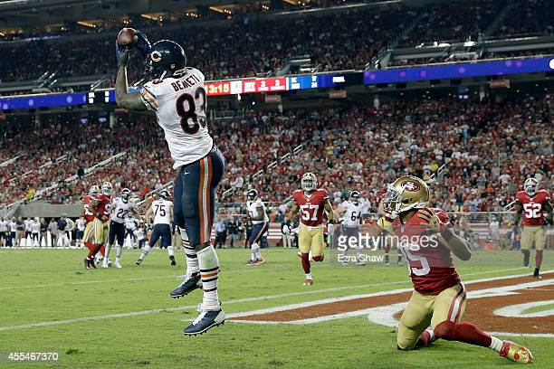 Tight end Martellus Bennett of the Chicago Bears catches a touchdown during the third quarter of their game against the San Francisco 49ers at Levi's...