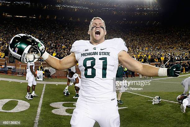 Tight end Matt Sokol of the Michigan State Spartans celebrates after defeating the Michigan Wolverines 2723 in the college football game at Michigan...