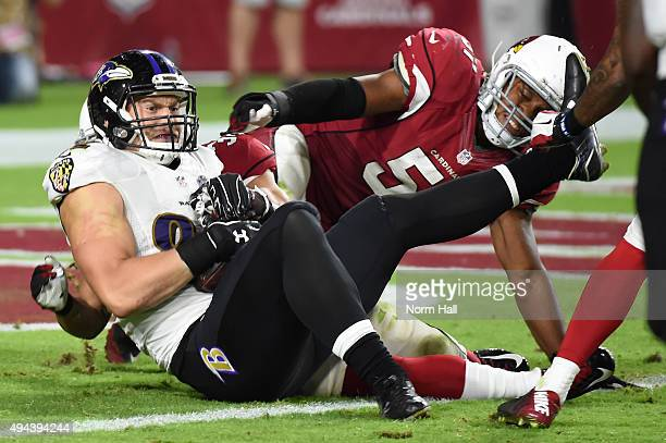 Tight end Nick Boyle of the Baltimore Ravens scores on a two point conversation attempt in the fourth quarter against the Arizona Cardinals at...