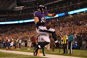 Tight end Owen Daniels of the Baltimore Ravens celebrates his touchdown against the Pittsburgh Steelers during 1st quarter at MT Bank Stadium on...