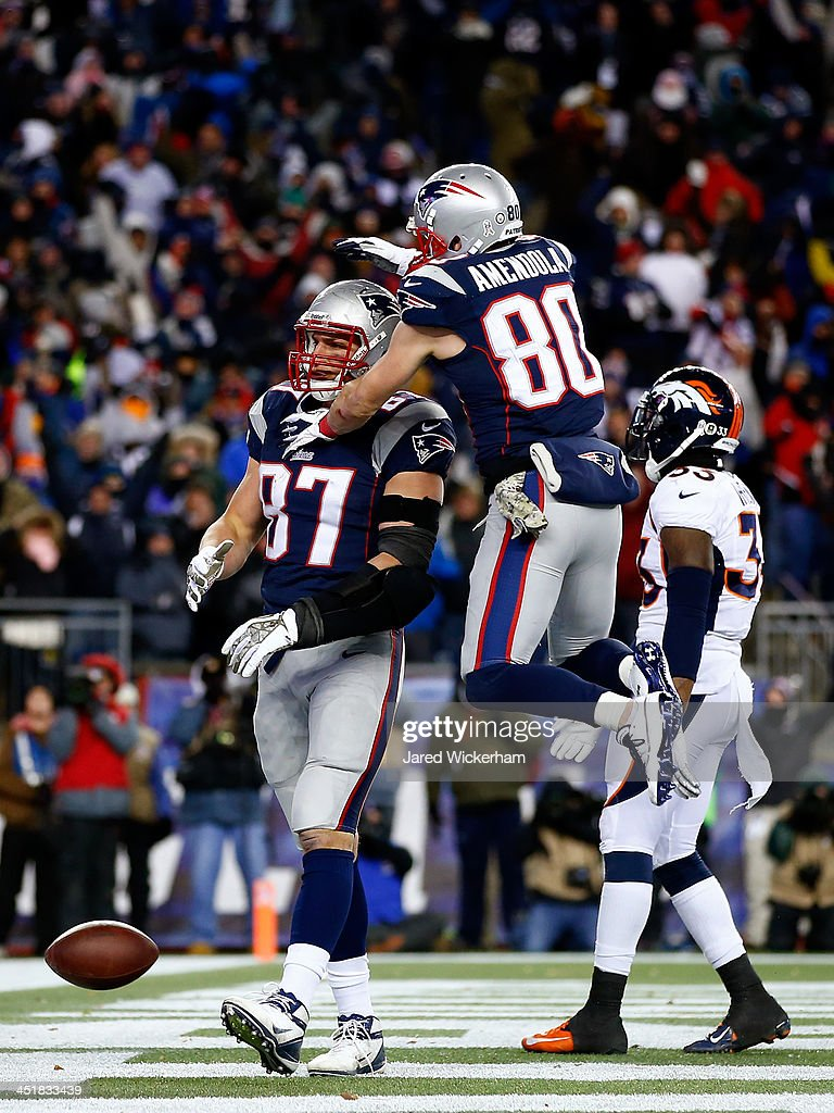Tight end Rob Gronkowski #87 celebrates a touchdown with Danny Amendola of the New England Patriots against the Denver Broncos during a game at Gillette Stadium on November 24, 2013 in Foxboro, Massachusetts.
