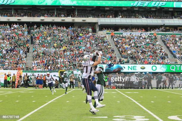 Tight End Rob Gronkowski of the New England Patriots in action against the New York Jets during their game at MetLife Stadium on October 15 2017 in...