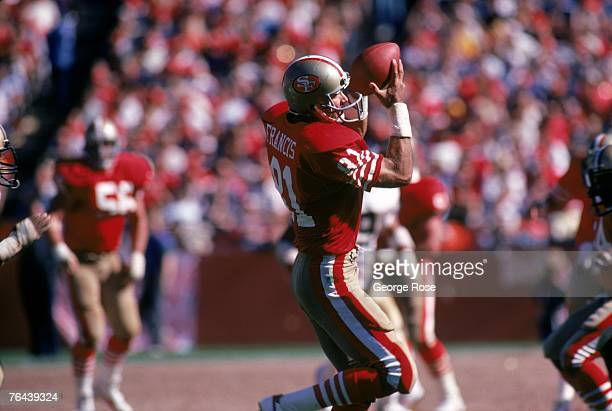 Tight end Russ Francis of the San Francisco 49ers catches a pass against the New Orleans Saints during a game at Candlestick Park on September 21...