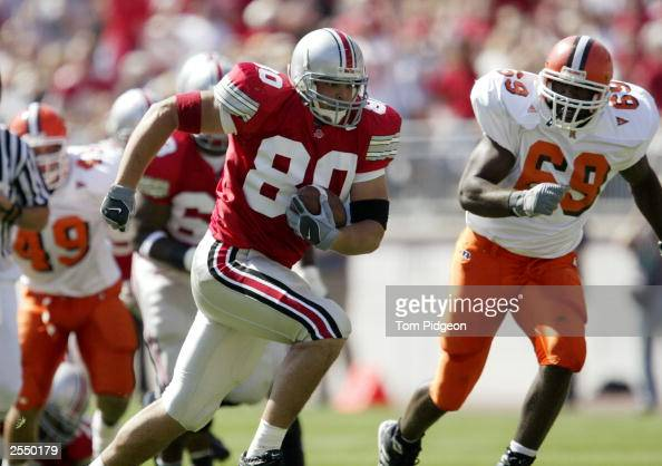 Tight end Ryan Hamby of the Ohio State University Buckeyes gains yards after catching a pass against the Bowling Green State University Falcons...