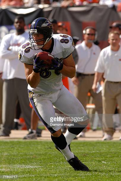 Tight end Todd Heap of the Baltimore Ravens catches a pass during a game with the Cleveland Browns on September 30 2007 at Cleveland Browns Stadium...